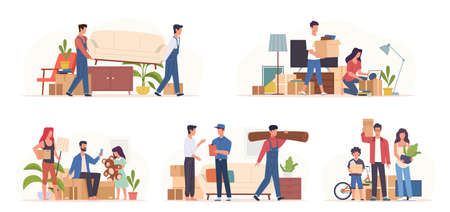 People moving home. Families preparing transporting in new apartment, sorting boxes, movers carry furniture, items packing, transportation service, relocating concept. Vector cartoon isolated set