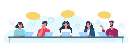 Customer support operators. Call center employees help clients, helpdesk concept office men and women with headset give professional advice. People answering to clients and buyers questions vector set
