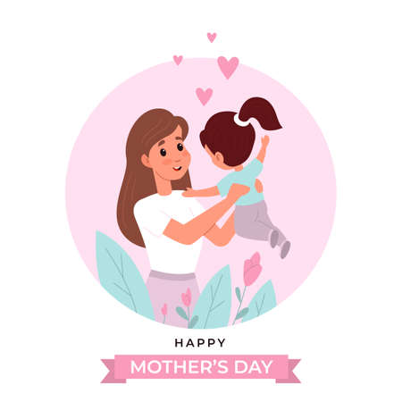 Mothers day. Happy mom with little cute daughter greeting card, spring holiday poster template, woman holds and hugs child, postcard with text, motherhood love and care. Vector cartoon flat concept 일러스트