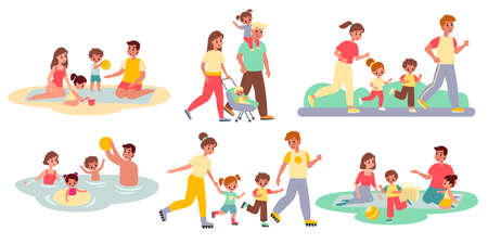 Family activities. Happy people and kids, outdoor spending time together, parents with children walking, beach and roller skates picnic and sport. Parenthood concept vector flat cartoon isolated set
