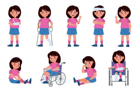 Girl with injury. Child character with wounds, traumatized kid, scratching fractures and wheelchair, physical damage collection. Medical treatment with bandages and plaster vector cartoon isolated set 일러스트