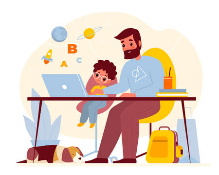 Teaching at home. Father helps son with homework, parent with child at computer table, kids online education, little boy with dad learning, explain lesson, desk with laptop vector cartoon concept 일러스트