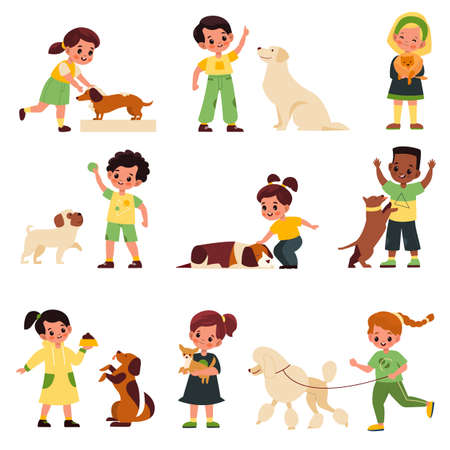 Kids with dogs. Children with different dog breeds poodle and labrador, pug and dachshund, little pet owners, boys and girls playing, feeding and care with domestic animals vector cartoon isolated set 일러스트