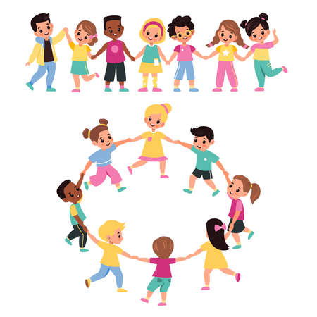 Kids holding hands. Happy multicultural cute preschool children lead round dance together, girls and boys form chain and ring, little friends clasped hands. Vector cartoon flat isolated on white set