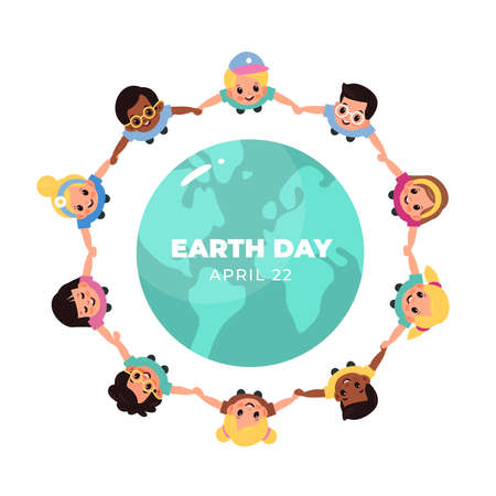 Kids earth world day. Children hold hands around globe, multicultural boys and girls closed circle, smiling friends lead round dance ecology honor. Save our planet, vector cartoon isolated concept 일러스트