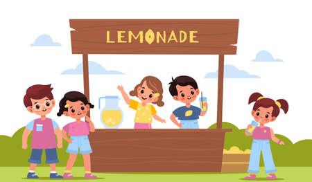 Children lemonade. Happy kids make cold lemon drink, little sellers behind the counter outdoor, boys and girls buy homemade fruit water. Summer citrus beverage, wooden stall vector cartoon concept