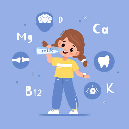 Child drink milk. Happy girl holding bottle healthy beverage, cows milk benefits, educational poster with chemical element. Trace elements and vitamins, morning organic product vector cartoon concept 일러스트