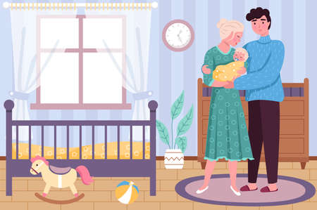 Happy motherhood. Newborn baby with hugging parents in childhood bedroom interior, young family together, loving father and mother holding child. Parent care and love parenthood vector cartoon concept 일러스트