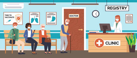 Doctor office queue. Patients waiting their turn for vaccination or consultation, hospital corridor with seating seats, people in medical masks, nurse on aid reception vector flat cartoon concept