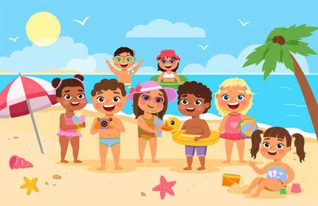 Beach kids. Happy children summer holidays, cute boys and girls in swimsuits playing with toys sand and splash near the shore, sea vacation. Tropical resort, seaside landscape vector cartoon concept 스톡 콘텐츠 - 165362697