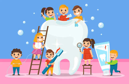 Big tooth and kids. Oral cavity hygiene, orthodontic education poster, children group around big white tooth, cleaning items toothpaste and toothbrush. Child stomatology clinic vector cartoon concept 일러스트