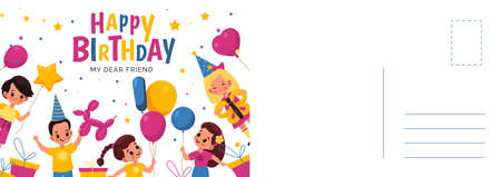 Happy birthday postcard. Holiday card with cute children and different shapes balloons in festive hats and confetti. Design invitation and greeting, colorful lettering vector cartoon illustration