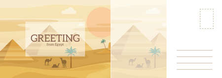 Greeting from Egypt travel card. Desert landscape with Egyptian pyramids and camels, African sand dunes panorama, tourism letter template, vector invitation postcard cartoon flat style with copy space