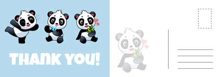 Thank you panda postcard. Cute asian adorable bears, grateful letter template with baby pandas, holiday kids modern design kawaii animal invitation and greeting card, vector cartoon illustration