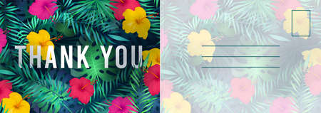 Thank you postcard. Abstract background with red hibiscus flowers and green tropical palm leaves, grateful letter template, holiday design invitation and greeting botanical cards vector illustration