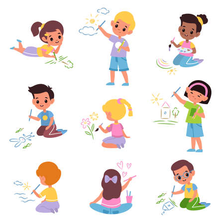 Kids draw. Little children with colored pencils, young artists with brushes and paints, boys and girls paint everything around. School and kindergarten art class, vector cartoon isolated set Vektoros illusztráció