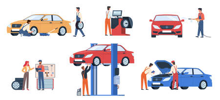 Car service workers. People in repair process, mechanics work fix breakdowns, change automobile details, make diagnosis and wash auto in garage. Maintenance vehicle vector flat scenes set