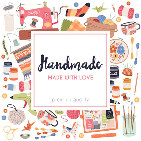 Handmade crafts. Art accessories and materials, hobby tools, cozy creative products. Embroidery, weaving and knitting. Poster for studio or shop. Vector square frame flat cartoon concept