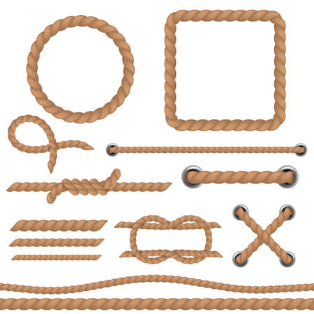 Rope brown set. Marine cord ropes realistic collection, jute or hemp cordage frames and borders, round twine loop and knot, curve and straight lasso decorative elements vector 3d vintage set