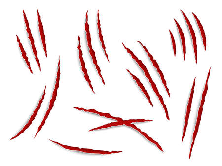 Scratches claws. Claw tracks animal, cat or tiger, bear or lion attack nails scratches with blood. Thriller horror halloween monsters signs. Vector realistic isolated on white set Vettoriali