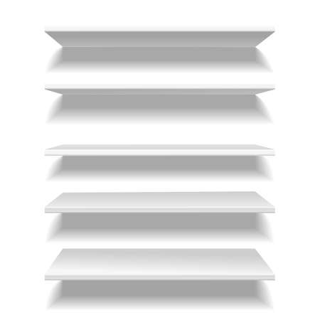 Shelves white. Empty clear store or library shelf in different angles view, bookshelf wall furniture blank interior 3d object. Element for gallery exposition vector realistic isolated set Illustration