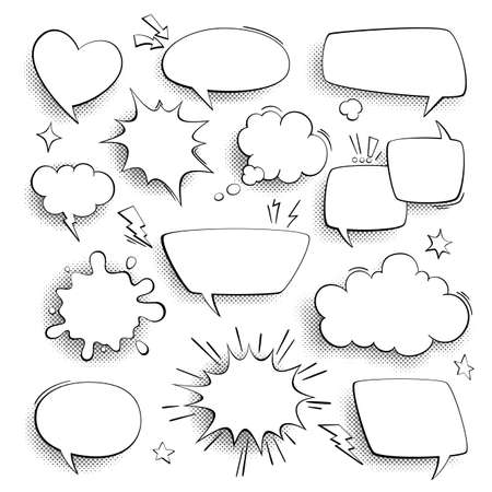 Speech bubbles. Cartoon comics talk, think and sound effects in bubble on halftone background. Retro empty speech forms, banners in pop art style, communication blank frames vector set Illustration