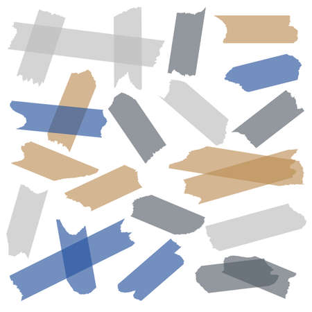 Tape adhesive. Transparent sticky tape, paper masking pieces with glue of adhesive strips. Gray blue and beige torn strips, packaging used stickers, stationery object, vector isolated set