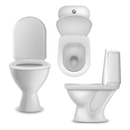 Toilet bowl realistic. Clean lavatory bathroom ceramic bowls group top, side and front view, white toilet basin. Cloakroom or restroom interior object. Closeup mockup vector isolated set