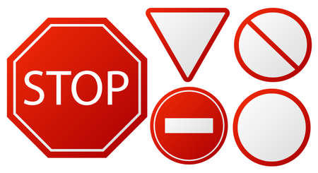Traffic signs Stop. Restricted road warning sign collection, red police danger icons for driver. Round triangular and octagon shape forbidden symbols. Vector realistic isolated set