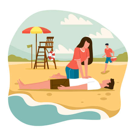 Beach lifeguards. Emergency assistance drowning situation, woman do indirect heart massage to man, ambulance service on seaside. Reanimation and resuscitation on vacation vector cartoon concept