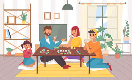 Family plays board games at home. Happy parents and children in room interior with chips and cards. People card role-playing game, joint hobby communication leisure time vector concept