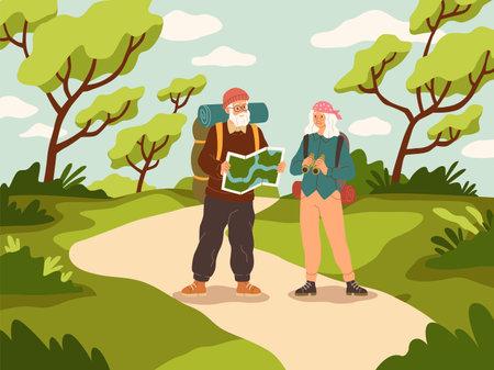 Old people tourist walk. Happy active elder couple with backpack trip adventure, senior people vacation, trekking and hiking, outdoor walking in woods vector cartoon travel concept