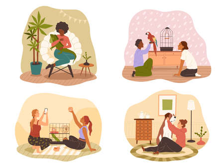 People at home with their pets. Happy owners domestic animals with iguana and hamster, dog and parrot in room. Men and women take care and play with pet indoors. Vector cartoon set