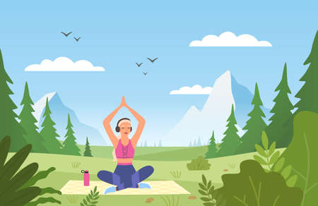 Yoga in nature. Athletic slim female character in sport uniform doing meditation, young woman sitting in lotus position in park, fitness and gymnastics outdoors vector cartoon concept Illustration