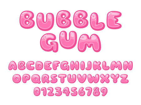 Bubble gum font. Pink sweet candy latin alphabet, kids letters and numbers, cartoon funny chubby glossy abc, childish plump lollipop capitals. Trendy typeface vector cartoon isolated set