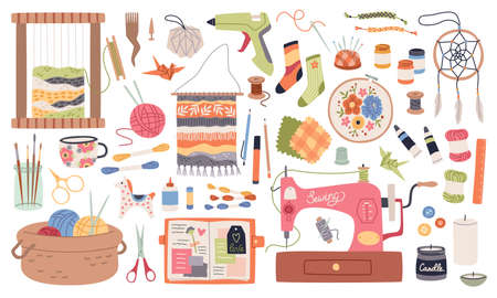 Handmade crafts. Creative accessories, consumables and tools, hobbies workshop items. Sewing machine and yarn, ceramic and origami. Embroidery, weaving and knitting. Vector cartoon set Illustration
