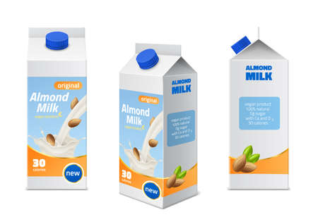 Milk packaging design. Realistic almonds drink boxes different angles view, natural vegan beverages, 3d pack with white splash, nuts and green leaves. Vector isolated on white set