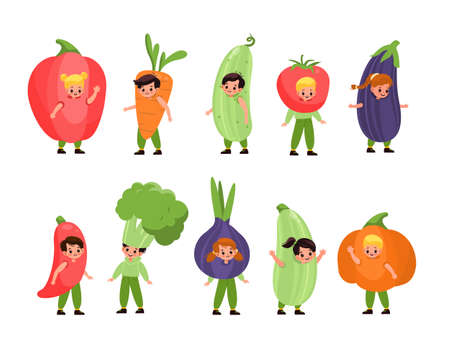 Kids vegetables dressed. Children costume party, fancy little fruits, cute happy boys and girls wearing veggies pajamas, fun dress-ups. Vegetarian clothes. Vector cartoon isolated set Illustration