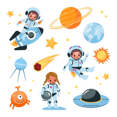 Kids space elements collection. Astronaut children with cosmic items, planets and satellite, boy in space suit riding rocket, girl in zero gravity, alien and ufo. Vector cartoon set Illustration