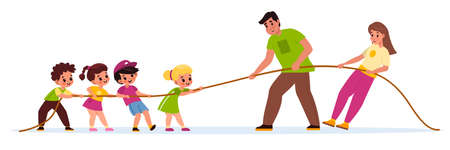 Children and adults tug war. Physical education lesson, teacher versus students, adults and kids pull rope, team sports game. Equal and counteracting forces. Vector cartoon concept Illustration
