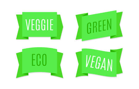 Green ribbons banners. Eco and bio tags design for natural vegan products. Simple ecology label and emblem, text on tape, veggie badge and logo, bright stickers vector isolated set Illustration