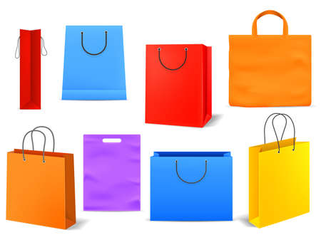 Shopping bags. Empty bright colorful product or present paper handbag, grocery or supermarket package with handle, blank square packet for customer, vector realistic isolated set Illustration