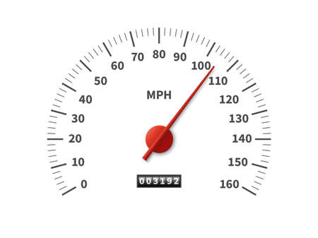 Speedometer. Realistic odometer interface. Speed meter with red arrow and miles measuring scale. Vehicle dashboard template. Car counter dial design. Vector transport velocity indicator