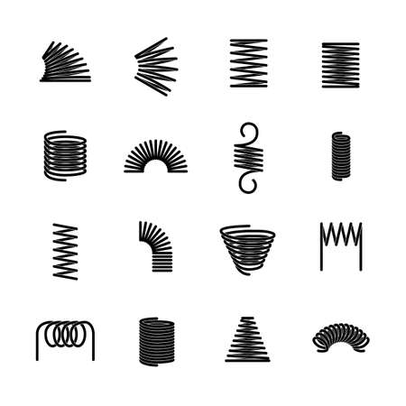 Steel spring. Flexible iron spirals. Parts of machinery equipment. Isolated twisted compressed wires. Minimal silhouettes of industrial or automobile absorbers. Vector metal coils set