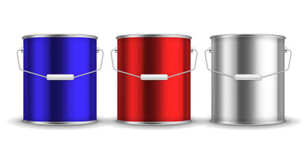 Steel can for paint. Realistic metal buckets with handles. 3D packaging for liquid. Blue or red and white aluminum containers mockup. Vector isolated metallic pails set for branding