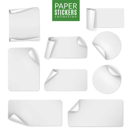 Stickers paper. Label white sticker round and square page, blank badge bent note sticky banners curled corners. Empty emblem template, promotion collection. Vector isolated realistic set