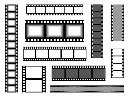 Film strip. Realistic cinema tape. Blank bands for recording video or shooting photographs and showing presentation slides. Various types set of seamless celluloid. Vector movie reel