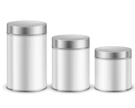 Tin can container metal. Packaging dry products cylinder boxes with caps different size, tea or coffee, sugar or cereals, spice or powder branding package template vector realistic set