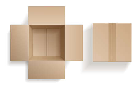 Top view cardboard box. Closed and open beige boxes inside and top view, brown pack mockup, delivery service and warehouse object realistic empty carton container. Vector 3d isolated set Illustration