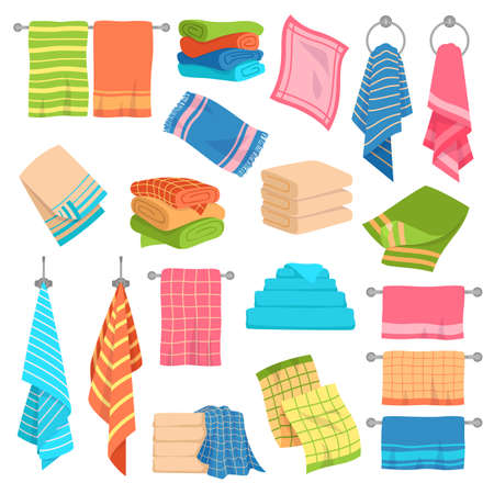 Towel cartoon set. Beach, kitchen and bath hanging and stacked towels collection. Cotton napkin and rags, rolls for spa hygiene textile colorful objects. Vector isolated collection Illustration